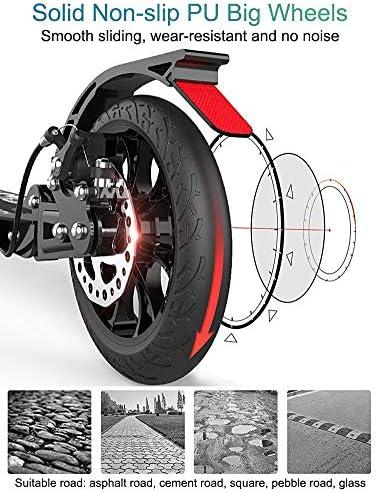 Trottinette Adultes, Trottinette Adulte avec Grandes Roues et Frein à Disque, Double Scooter de Banlieue Pliable avec Sac de Transport - Supporte 220 LB (Noir)