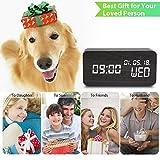 Luckymore Alarm Clock,Wood Alarm Clock Digital