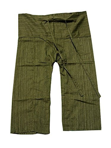 Original Thai Fisherman Fisher Yoga Pants Trouser stripe-Dark Olive - White Jacket Ferrari