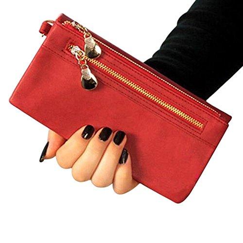 SODIAL(R) Frauen Mappen heisse Fashion Multifunktion PU-Leder Clutch Dame Geldboerse Telefon-Beutel rot rPbsoHxi
