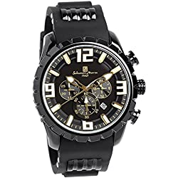 ?Salvatore Marra watch watch three-dimensional index rubber band Chronograph 10 ATM water resistant Men's