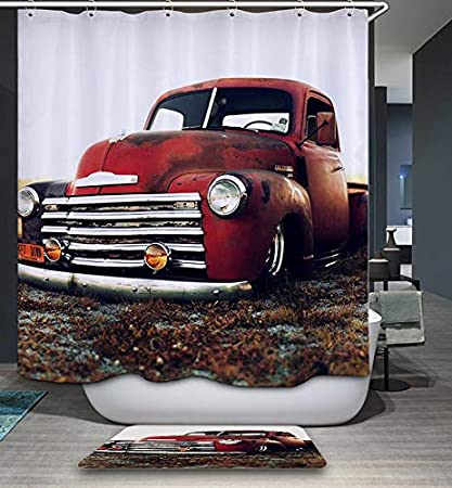 Old Chevy Truck >> Gojeek Chevy Truck Shower Curtain Retro Rustic Red Truck Cars Bathroom Decor 72 X72