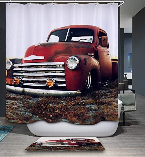 GoJeek Chevy Truck Shower Curtain Retro Rustic Red Truck Cars Bathroom Decor (72