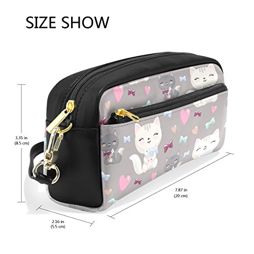 Bleistift Fall, Cute Cat Muster bedruckt Reise Make-up Pouch Large Wasserdicht Leder 2Fächer für Mädchen Jungen Damen Herren