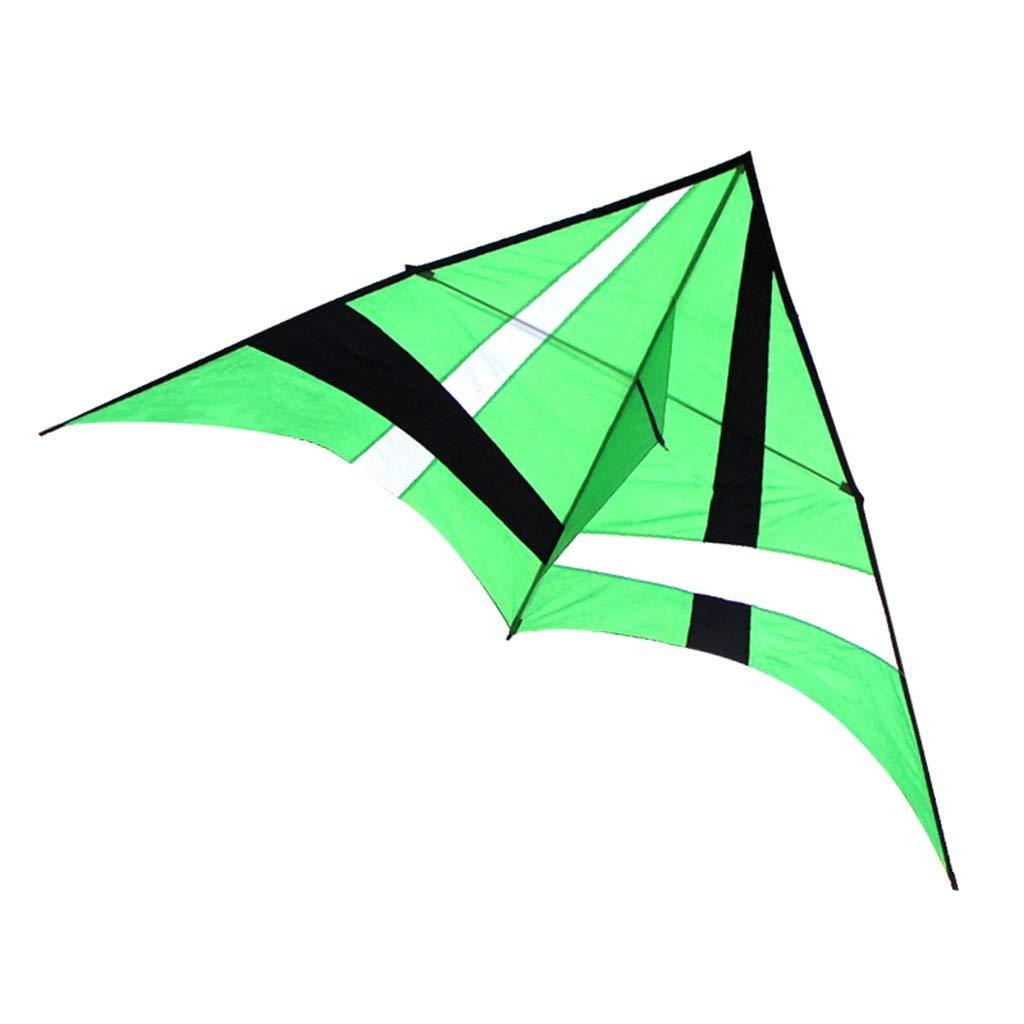 大人の凧、大きい凧の傘の布の樹脂棒の携帯用飛行おもちゃ、280 * 140CMを飛ばすこと容易な多彩な三角形のそよ風 (色 : 赤) B07R41K4FP 緑  緑