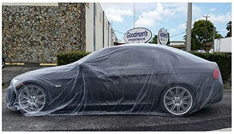 TopSoon Silver Plastic Car Cover with Elastic Band Waterproof Disposable Car Cover Large Size 12-Feet by 22-Feet