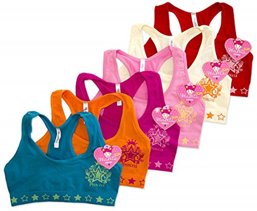 ToBeInStyle Girls' Pack of 6 Princess Star Crest Bras