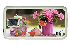 Hipster Samsung Galaxy S5 Cases poetic flowers decoration PC White for Samsung S5