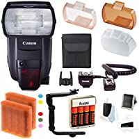 Canon Speedlite 600EX II-RT Flash with Batteries and Flash Bracket Bundle
