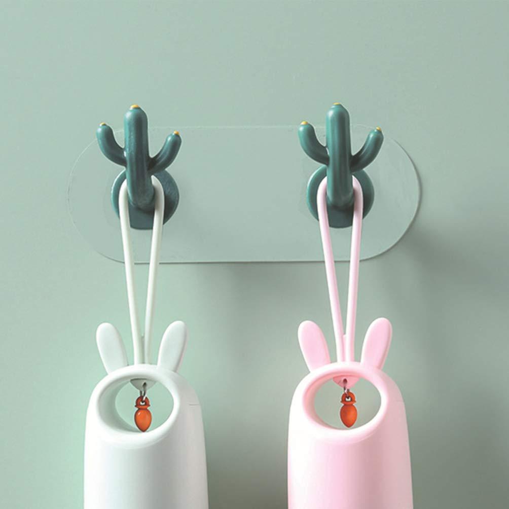 Garneck Ganchos Decorativos de Pared Ganchos Adhesivos en Forma de Cactus para Accesorios de Gancho de ba/ño de Cocina