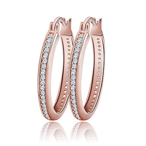 uPrimor Elegant 32mm Large Hoop 14K Rose Gold Plated Earrings Paved With AAA Austrian Cubic Zirconia