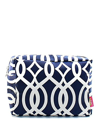 (N. Gil Large Travel Cosmetic Pouch Bag (Vine Navy Blue) )
