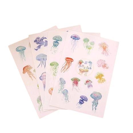 Chytaii 4pcs Pegatinas Decorativa Linda para Cuaderno Agenda Páginas Pegatina Medusas Nota 4 Hojas Movible