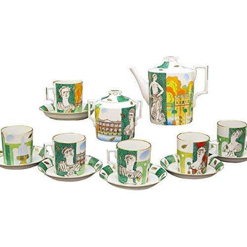 Imperial / Lomonosov Porcelain Tea Set 22k gold- Autumn in Tsarskoye Selo 14-Piece ()