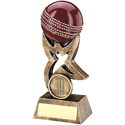 BRZ/GOLD/RED CRICKET BALL ON STAR RISER TROPHY - (1in CENTRE) 7in by Lapal Dimension