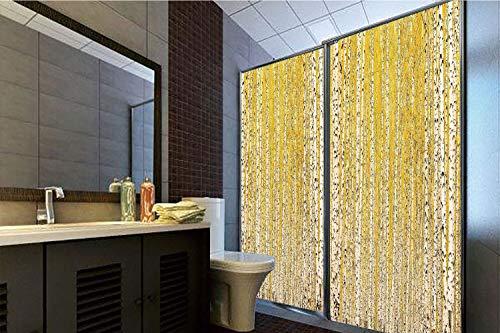 Horrisophie dodo No Glue Static Cling Glass Sticker,Landscape,Autumn Season in Birch Forest Golden Leaves Seasonal Scenics Picture,Mustard Ivory Black,39.37