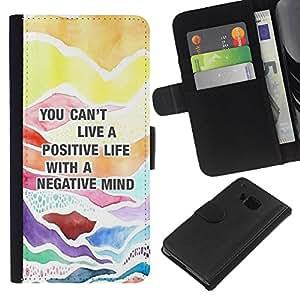 EJOY---La carpeta del tirón la caja de cuero de alta calidad de la PU Caso protector / HTC One M7 / --Cita positiva Consejos texto