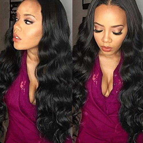 Belinda Hair Virgin Brazilian Hair Body Wave 3 Bundles 7A Unprocessed Virgin Brazilian Hair Bundles Human Hair Weave Extensions Natural Black Color (16 18 20inches)