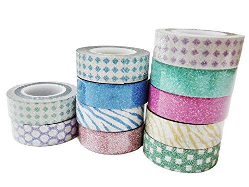 10pcs 10m Colorful Washi Tape DIY Adhesive Paper Sticker 1.5cm - 5
