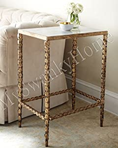 Marble Top Gold Iron Side Table | Ornate Leaves Accent Lamp End White