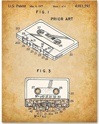 Cassette - 11x14 Unframed Patent Print - Makes a Great Gift Under $15 for Musicians and Fans of the 80s ()
