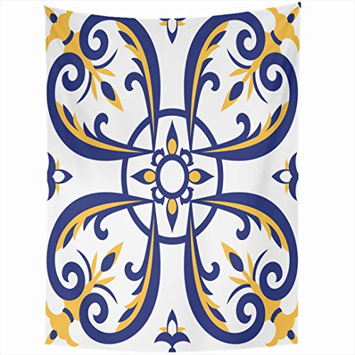 Ahawoso Tapestry 50x60 Inch Geometric Sicily Portuguese Tiles Pattern Blue Yellow Tile Dutch Vintage Arabic Azulejo Barcelona Ceramic Wall Hanging Home Decor for Living Room Bedroom Dorm