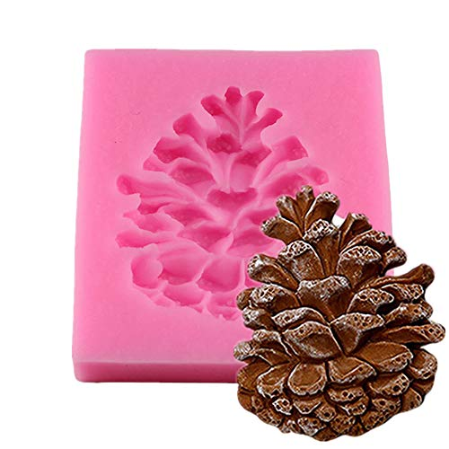 1PC Pine Cone Shape Silicone Molds 3D Cake Decorating Tools Fondant Mold Chocolate Cake Mould DIY Soap Candle Mold Mini Baking Tools(Pink)