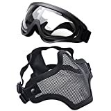 "Airsoft mask, Coxeer Tactical Airsoft Mask ""Striker"" Steel Metal Mesh Lower Half Face Mask"