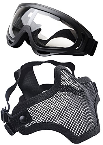 OUTGEEK Airsoft Half Face Mask Steel Mesh and Goggles Set (Black)