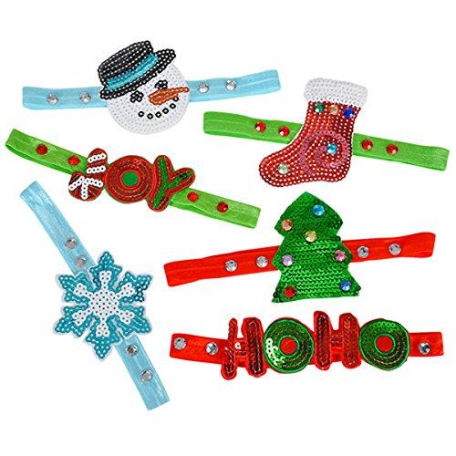 7'' Elastic Christmas Sequin Headbands (6 per ()