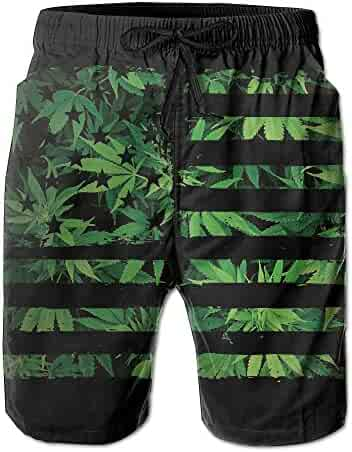 12544aca7b DS-co Weed USA Flag Men's Summer Beach Quick-Dry Surf Swim Trunks  Boardshorts