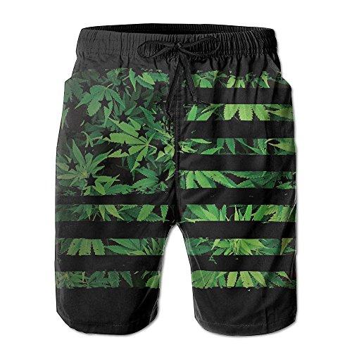 New Shorts Plaid Swim - DS-co Weed USA Flag Men's Summer Beach Quick-Dry Surf Swim Trunks Boardshorts Cargo Pants