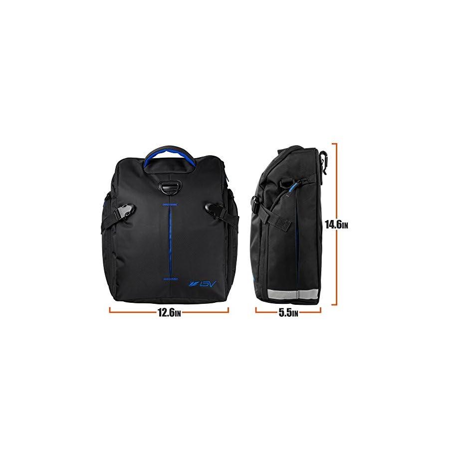 BV Bike Panniers Bags (Pair), Large Capacity, 14 L (each pannier), Black with Detachable Shoulder Straps and All Weather Rain Covers