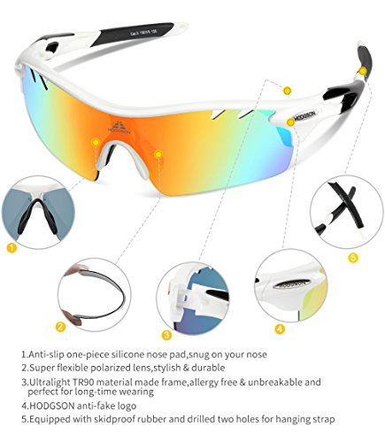 72c50708db HODGSON Polarized Sports Sunglasses with 5 Interchangeable Lenses for Men  Women Cycling Baseball Running Glasses