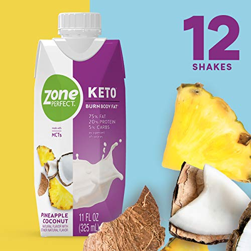 ZonePerfect Keto Shake, Pineapple Coconut Flavor, Proven Keto Macros, Made With MCTs, 11 fl oz 12Count