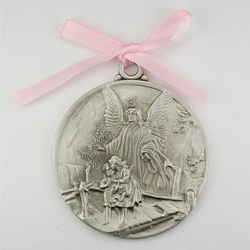 Guardian Angel Crib Medal Pink Ribbon Round 2 3/4 Great Gift great baptism christening gift keepsake gift (Angel Medal Guardian)