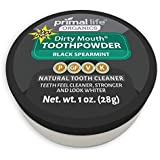 WOW its Charcoal Organic Tooth Powder Dirty Mouth #1 BEST RATED All Natural Dental Cleanser- Gently Polishes, Cleans, Re-Mineralizes, Strengthens Teeth - Black Spearmint (1 oz = 3mo Supply)