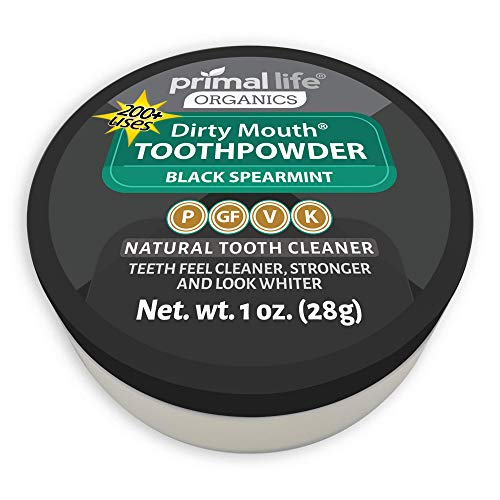 Natural Tooth Powder Dirty Mouth Organic Toothpowder BEST All Natural Dental Cleanser - Gently Polishes, Whitens, Re-Mineralizes and Strengthens Teeth