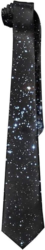 Cravatta in seta da uomo di nuova moda con cravatta nera stelle universo