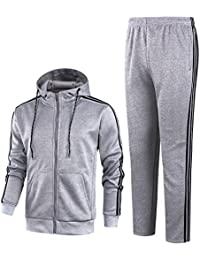 Men's Athletic 3-Stripes Hoodie Tops & Pants Casual Jogging Tracksuit Set