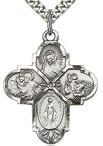 Heartland Store Sterling Silver 4 Way Cross Pendant + 24 1.7mm Inch Sterling Silver Chain & (4 Way Pendant)