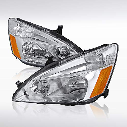 (Autozensation For Honda Accord EX LX 2/4DR Pair Clear Lens Headlights Lamps+Amber)