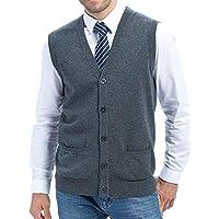 Tubination Mens Sleeveless Front Open Grey Cardigan/Sweater/Jacket