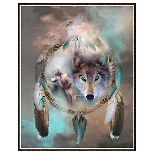 DIY 5D Diamond Painting by Number Kits, Crystal Rhinestone Diamond Embroidery Paintings Pictures Arts Craft for Home Wall Decor (Wolf)