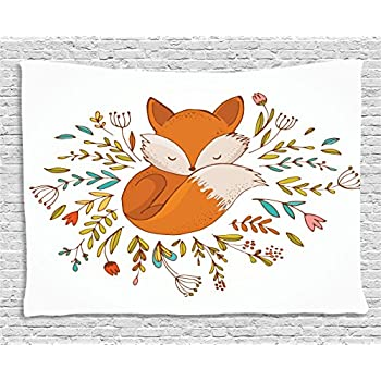 Ambesonne Cartoon Tapestry, Baby Fox Sleeping in a Floral Made Bed Circle Art Print, Wide Wall Hanging for Bedroom Living Room Dorm, 60