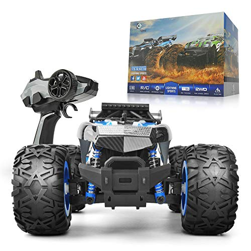 Gizmovine Remote Control Car 1:18 Large Size Rc Cars Off Road Monster Racing Truck for Kids Vehicle Toy , 2019 Version (Blue & Black) (Good Remote Control Car For 5 Year Old)