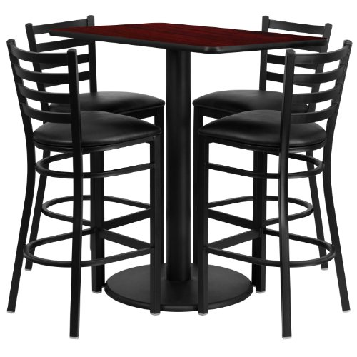 x 42'' Rectangular Mahogany Laminate Table Set with 4 Ladder Back Metal Barstools - Black Vinyl Seat (Bar Stool 24' Base)