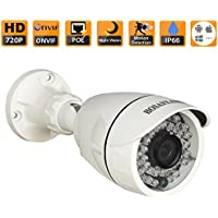 HOSAFE 1MB6P HD IP Camera POE Outdoor 1MP 1280x720P Night Vision ONVIF H.264 Motion Detection Email Alert Remote View Via Smart Phone/Tablet/PC, Working With Foscam IP Camera Software Blue Iris iSpy IP Camera DVR(White)