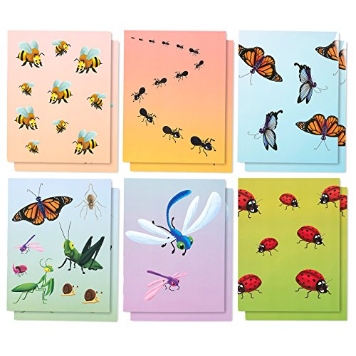 Design Folder - 12-Pack Pocket Folders – Letter Size File Folders with Two Pockets - 6 Adorable Insect Designs - Holds up to 28 Sheets, Perfect for Staying Organized at School or Home - 9.25 x 12 Inches