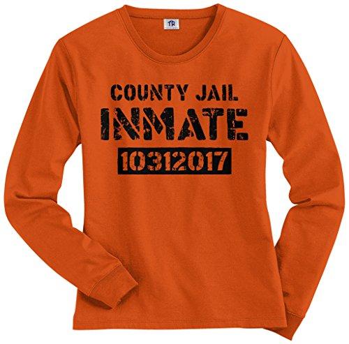 Threadrock Women's County Jail Inmate Halloween Costume Long Sleeve T-Shirt S -